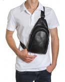 Фотография Черный кожаный мужской удобный слинг на плечо Zagora VZ-018-1