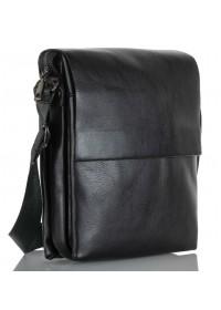 Черная мужская вместительная кожаная сумка на плечо VZ-037-3