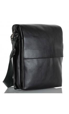 Черная мужская вместительная кожаная сумка на плечо Zagora VZ-037-3