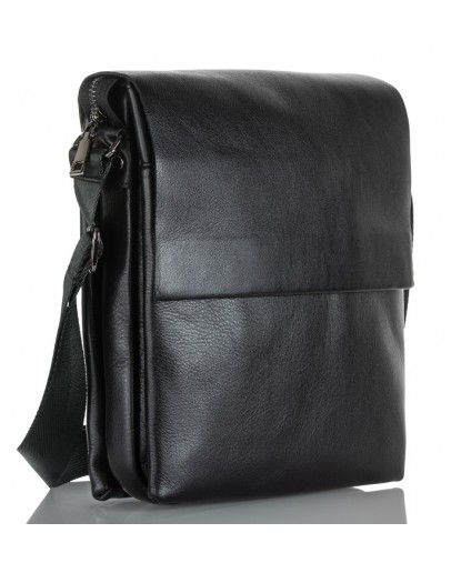 Фотография Черная мужская вместительная кожаная сумка на плечо Zagora VZ-037-3