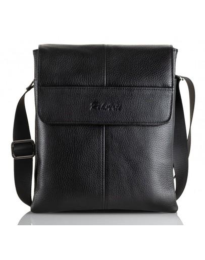 Фотография Черная кожаная вместительная мужская сумка на плечо FZ-074