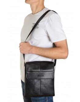 Черная кожаная вместительная мужская сумка на плечо FZ-074