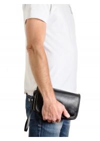 Черный кожаный мужской клатч - сумка на плечо VZ-215