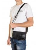 Фотография Черный кожаный мужской клатч - сумка на плечо VZ-215