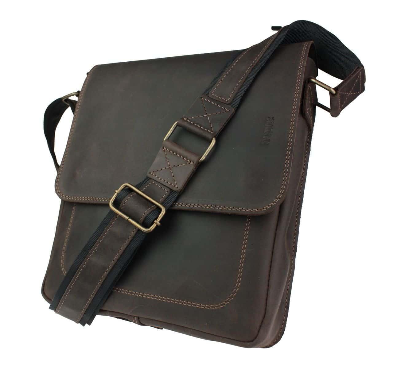 кожаная мужская сумка ручной работы - кенгуру