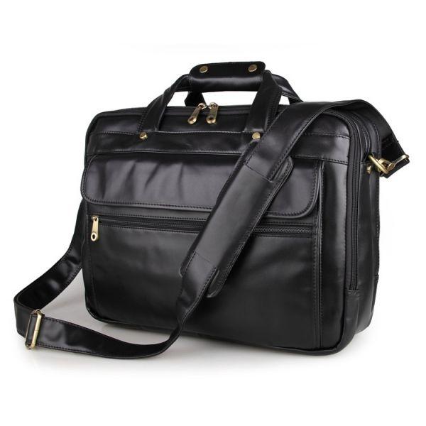 Черная сумка мужская кожаная для ноутбука