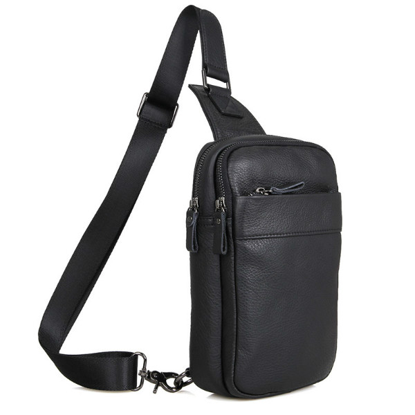 Рюкзак мужской черный кожаный