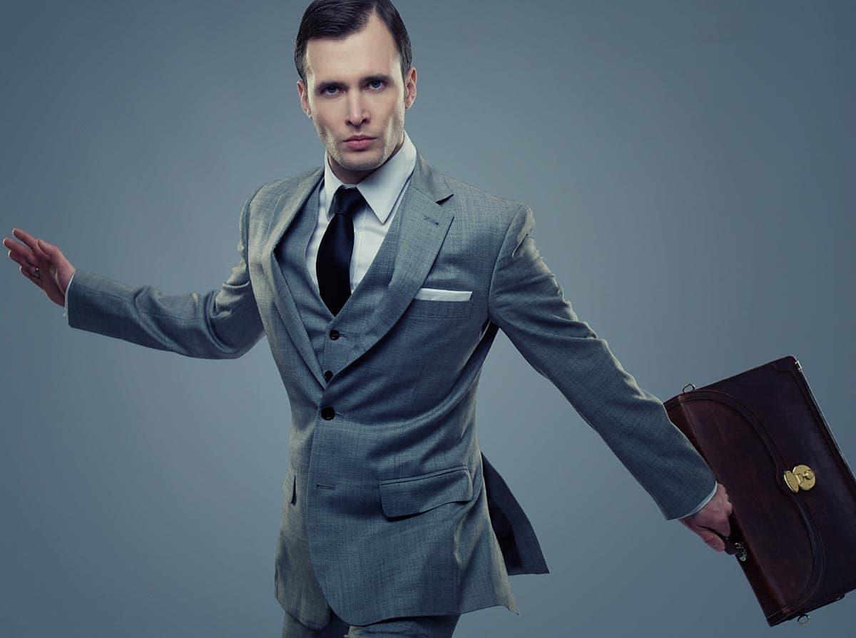 деловой кожаный мужской стильный портфель