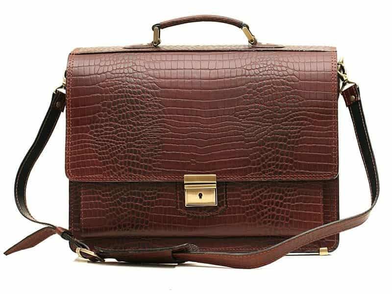 фото кожаный классический портфель - кенгуру