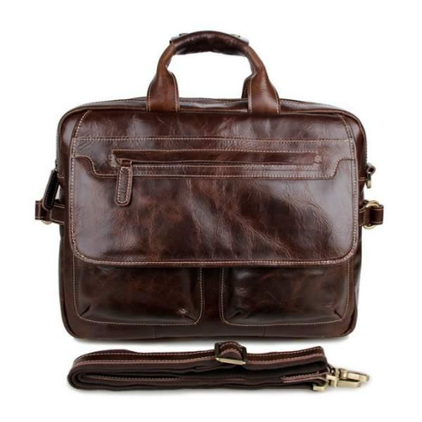 Коричневая сумка мужская для ноутбука