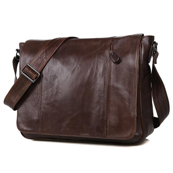 Кожаная коричневая мужская деловая сумка