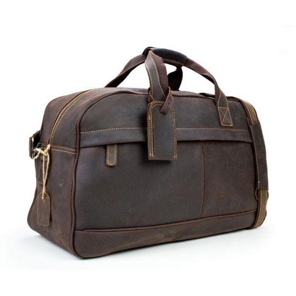 Кожаный мужской коричневый тревелбег для путешествий