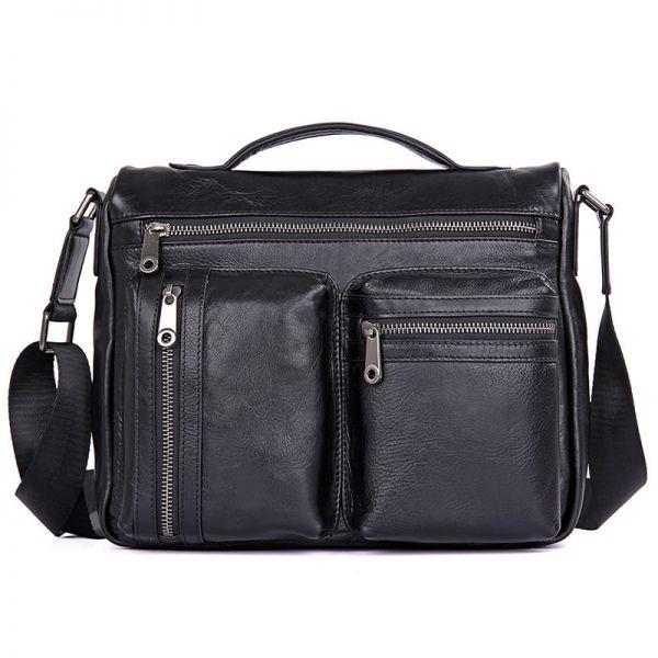 Черная деловая мужская кожаная сумка